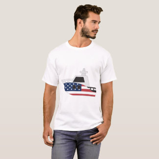 T-shirt Bateau de drapeau des Etats-Unis