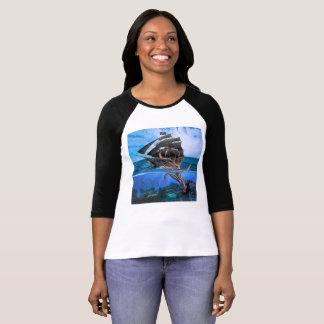 T-shirt Bateau de pirate contre le calmar géant