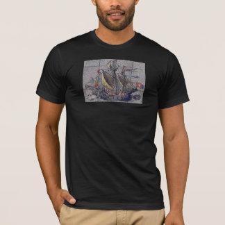 T-shirt Bateau et équipage de navigation en bois