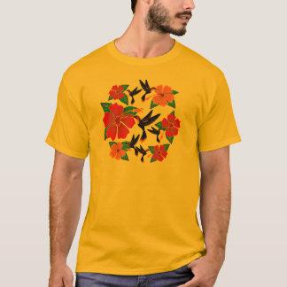 T-shirt Batik de colibri et de ketmie
