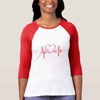 T-shirt Battement de coeur de vague de l'amour ECG