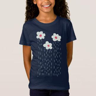 T-Shirt Belle fille fleurie décorative de nuages de pluie