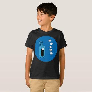 T-shirt Bla Bla Bla ! L'art bleu de sphère de lapin badine