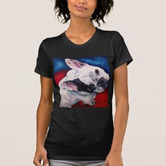 T-shirt Blanc de bouledogue français avec la correction