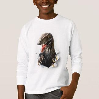 T-shirt blanc de douille de dinosaure de