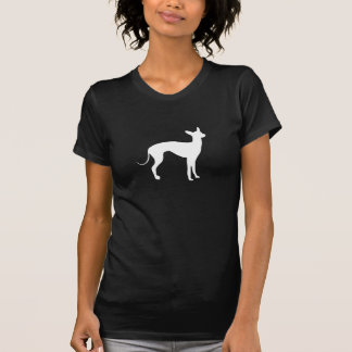 T-shirt Blanc de lévrier italien sur le noir