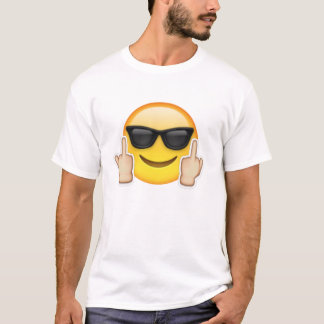 T-shirt blanc + emoji smiley lunette + f*ck HUMOUR