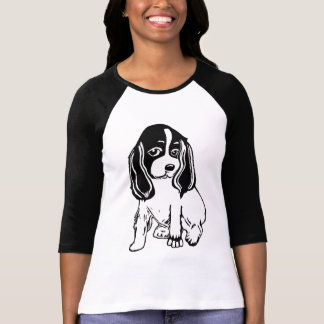 T-shirt blanc noir de raglan de dames de cocker