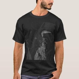 T-shirt blanc robuste de héron d'ubuntu sur le noir