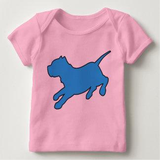 T-shirt bleu de bébé de silhouette de Pitbull