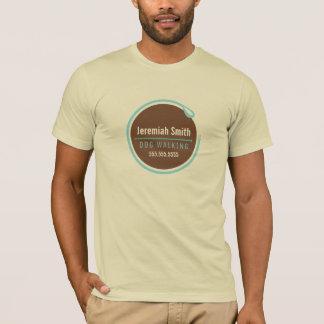 T-shirt Bleu de boucle de laisse de marcheur de chien