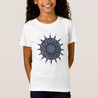 T-shirt bleu de filles de mandala de motif de mite