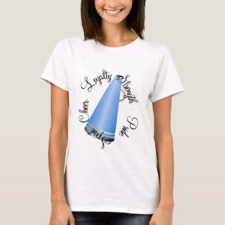 T-shirt bleu de mégaphone de pom-pom girl