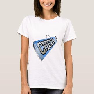 T-shirt bleu de pom-pom girl de mégaphone