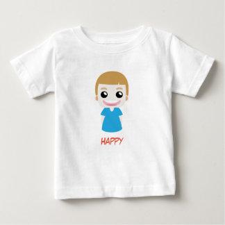 T-shirt bleu heureux de vecteur d'enfant