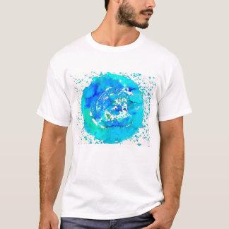 T-shirt bleu lumineux d'impression génial d'art