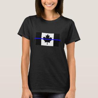 T-shirt Blue Line mince symbolique sur le drapeau canadien