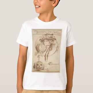 T-shirt Bougie de feuille de lanterne de Jack O de femme