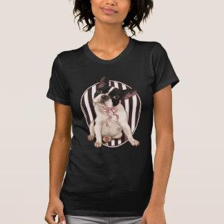 T-shirt Bouledogue français chic et rayures classiques