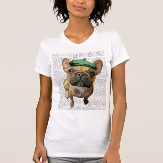 T-shirt Bouledogue français de Brown avec le casquette