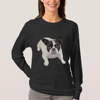 T-shirt Bouledogue français noir et blanc mignon sur le