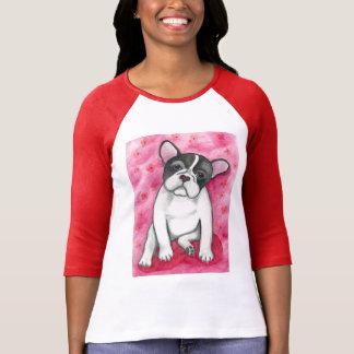 T-shirt Bouledogue français pie avec la chemise raglane