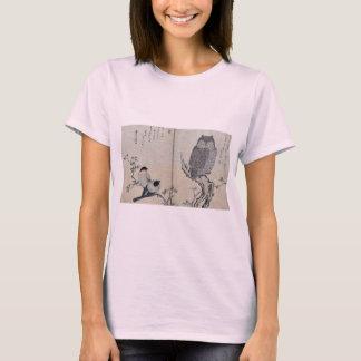 T-shirt Bouvreuil et hibou à cornes par Kitagawa, Utamaro