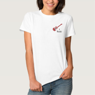 T-shirt Brodé Chemise personnalisable rouge 2 de guitare