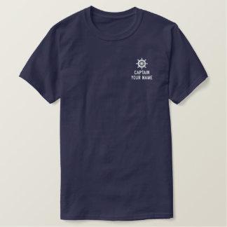 T-shirt Brodé Chemises de capitaine de bateau brodées par