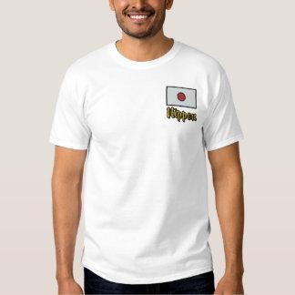 T-shirt Brodé Drapeau de Japonais du Nippon