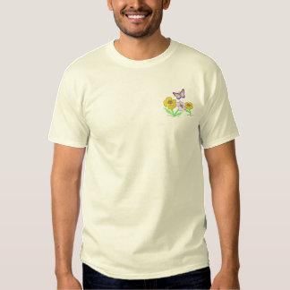 T-shirt Brodé Fleurs avec le papillon