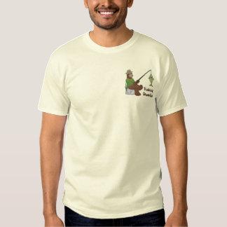 T-shirt Brodé Ours de grand-papa de pêche