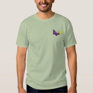 T-shirt Brodé Papillon et fleurs