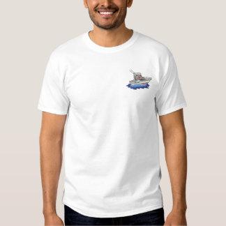 T-shirt Brodé Petit bateau de pêche en haute mer