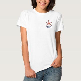 T-shirt Brodé Plage personnalisée par orange d'étoiles de mer