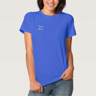 T-shirt Brodé Protégez nos océans que le ~ pensent le bleu !