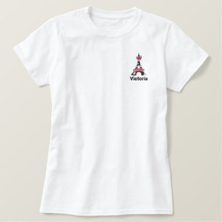 T-shirt Brodé Tour Eiffel rose chic Paris personnalisé