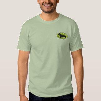 T-shirt Brodé Vert-Starburs ovale de teckel