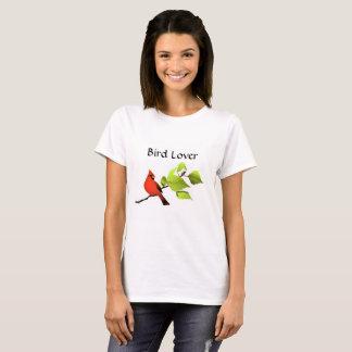T-shirt cardinal d'amant d'oiseau, blanc