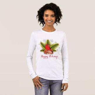 T-shirt cardinal de vacances d'oiseau de Noël