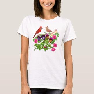 T-shirt Cardinaux dans le bébé de jardin - chemise de