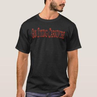 T-shirt Carnivore Toting Txt rouge de base T d'arme à feu