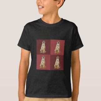 T-shirt Carrés rouge foncé d'art de bruit de Meerkat