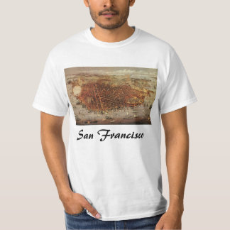 T-shirt Carte aérienne antique de San Francisco, la