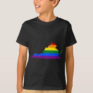 T-shirt Carte de drapeau de la Virginie LGBT