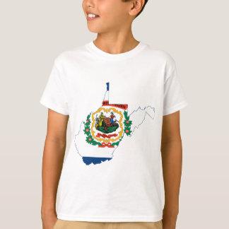 T-shirt Carte de drapeau de la Virginie Occidentale