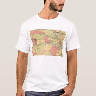 T-shirt Carte de guerre civile montrant des champs de