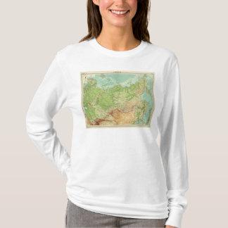 T-shirt Carte de la Sibérie avec des itinéraires