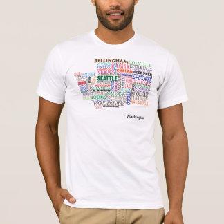 T-shirt Carte de ville de l'état de Washington