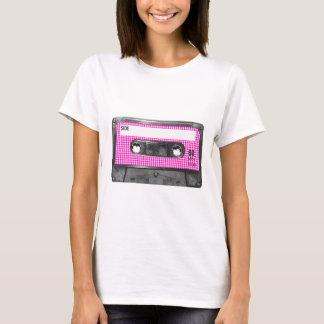 T-shirt Cassette rose et blanche d'étiquette de